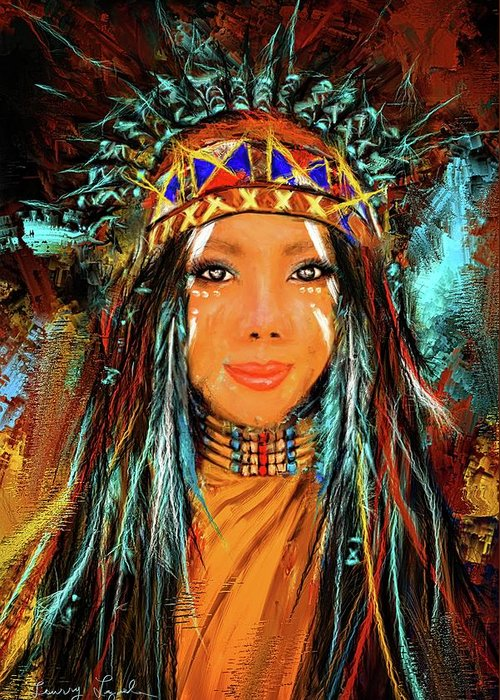 Colorful native american woman greeting card for sale by lourry legarde native american greeting card featuring the painting colorful native american woman by lourry legarde m4hsunfo