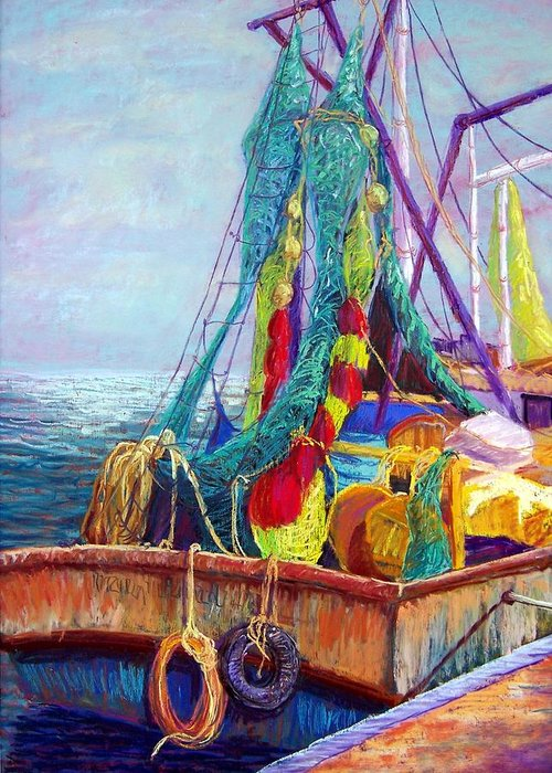 Seascape Greeting Card featuring the pastel Colorful Nets by Candy Mayer