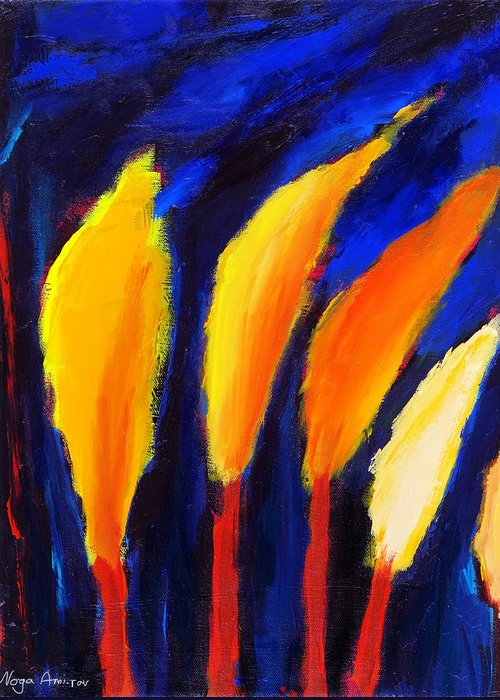 Cypress Greeting Card featuring the painting Colorful Night by Noga Ami-rav