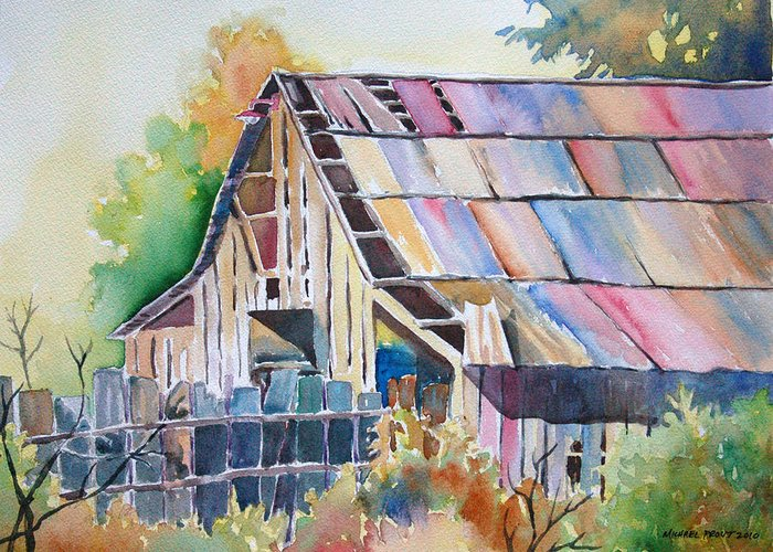 Old Barn Greeting Card featuring the painting Colorful Old Barn by Michael Prout
