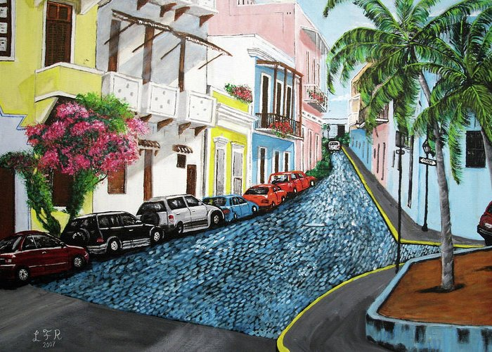 Old San Juan Greeting Card featuring the painting Colorful Old San Juan by Luis F Rodriguez