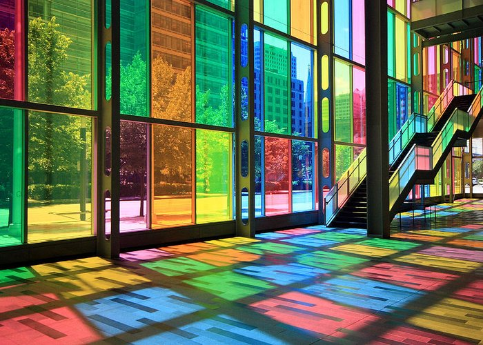 Montreal Greeting Card featuring the photograph Colorful Palais Des Congres Montreal Canada by Pierre Leclerc Photography