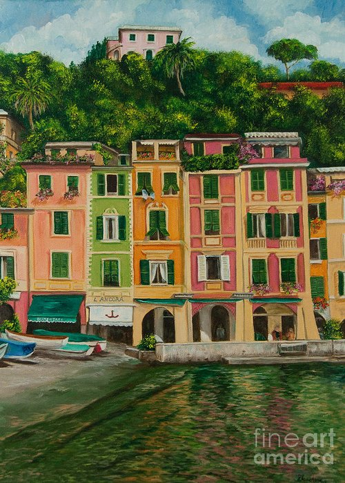 Portofino Italy Art Greeting Card featuring the painting Colorful Portofino by Charlotte Blanchard