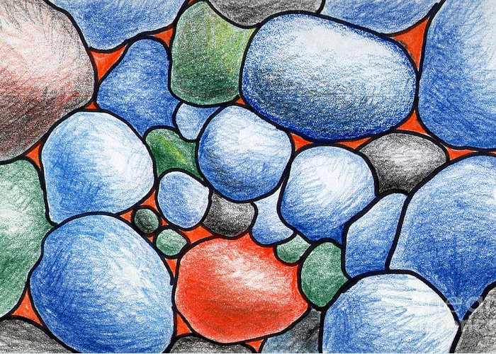 Rocks Greeting Card featuring the drawing Colorful Rock Abstract by Nancy Mueller