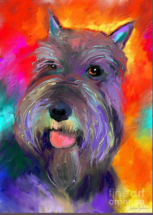 Schnauzer Dog Greeting Card featuring the painting Colorful Schnauzer Dog Portrait Print by Svetlana Novikova
