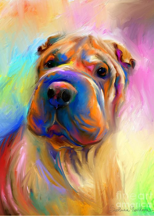 Chinese Shar Pei Dog Greeting Card featuring the painting Colorful Shar Pei Dog Portrait Painting by Svetlana Novikova