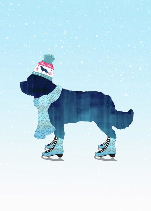 Newfoundland Greeting Card featuring the digital art Colorful Skater by Christine Mullis