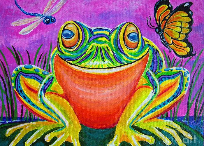 Frog Greeting Card featuring the painting Colorful Smiling Frog-voodoo Frog by Nick Gustafson