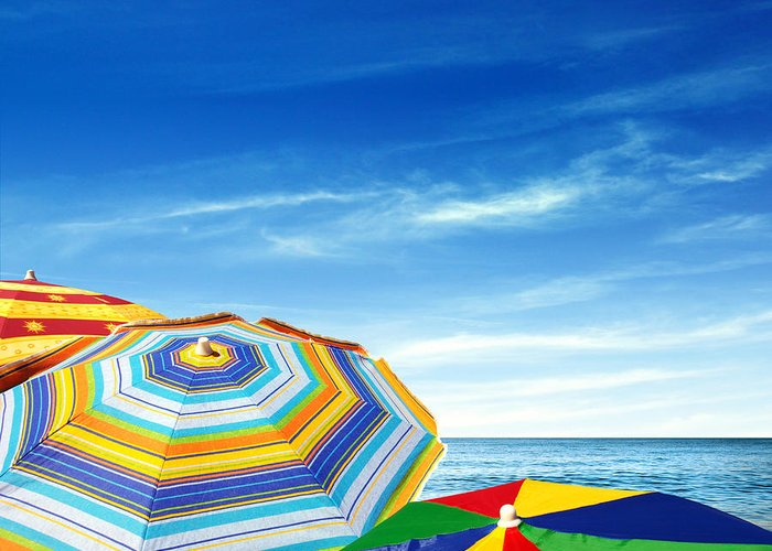 Abstract Greeting Card featuring the photograph Colorful Sunshades by Carlos Caetano