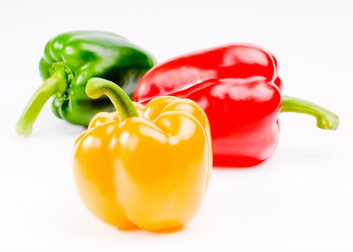 Asia Food Greeting Card featuring the photograph Colorful Sweet Peppers by Setsiri Silapasuwanchai