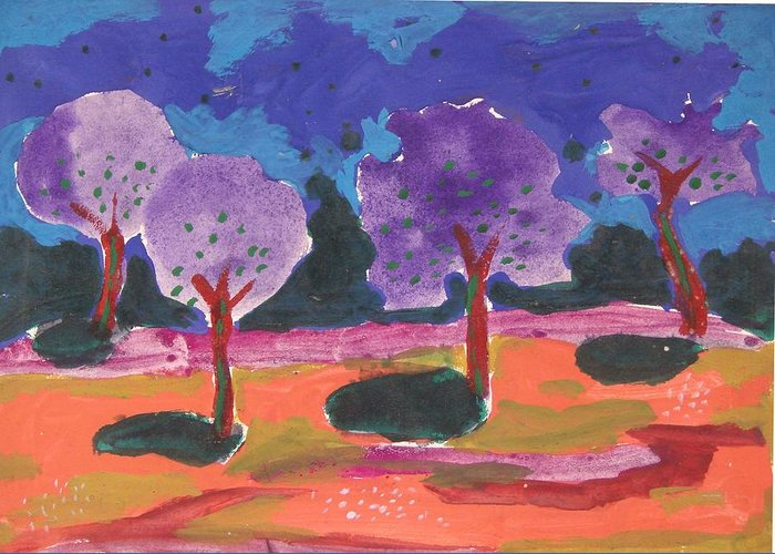 Illusive Nature Greeting Card featuring the painting Colorfull Trees by Panditjee