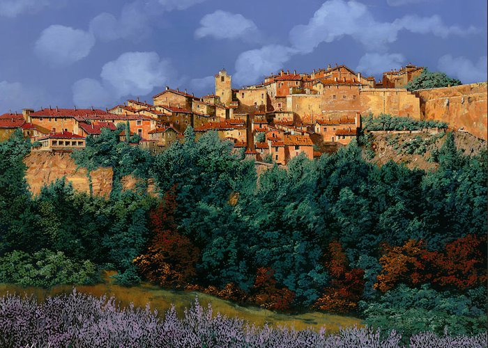 Provence Greeting Card featuring the painting colori di Provenza by Guido Borelli