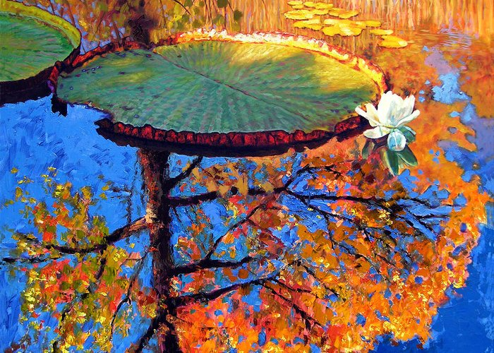 Fall Greeting Card featuring the painting Colors Of Fall On The Lily Pond by John Lautermilch