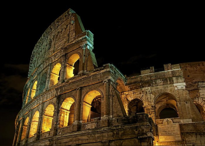 Colosseum Greeting Card featuring the photograph Colosseum At Night by Nancy Morgantini