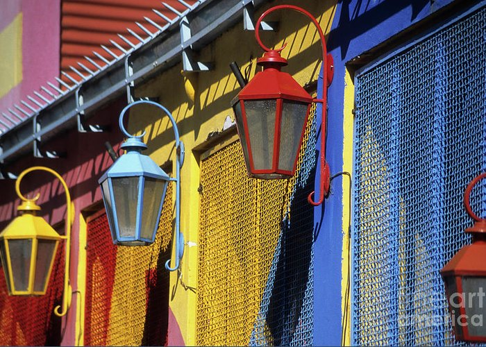 Buenos Aires Greeting Card featuring the photograph Colourful Lamps La Boca Buenos Aires by James Brunker