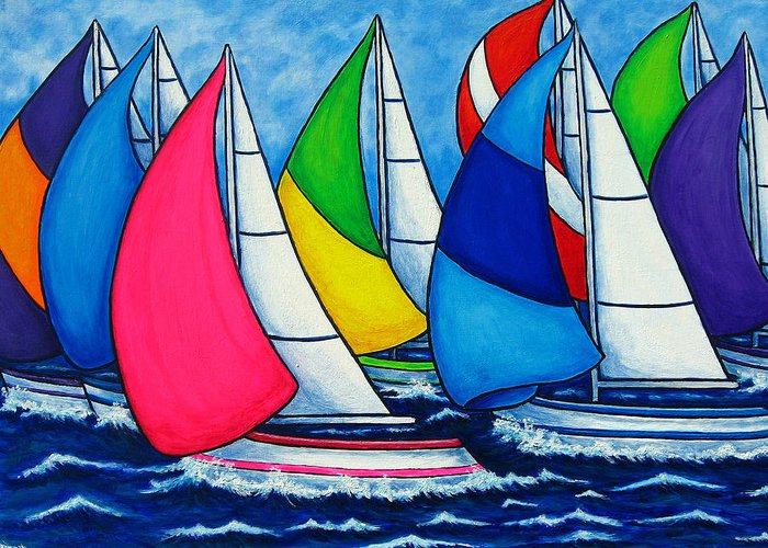 Boats Greeting Card featuring the painting Colourful Regatta by Lisa Lorenz
