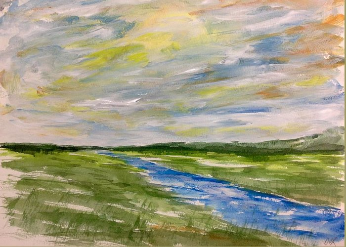 Abstract Watercolour Landscape Painting Greeting Card featuring the painting Colourful Sky Over The Creek by Desmond Raymond