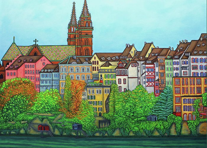 Lisa Lorenz Greeting Card featuring the painting Basel, Colours of Basel by Lisa Lorenz