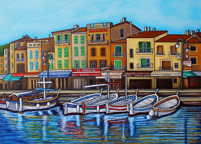 Cassis Greeting Card featuring the painting Colours of Cassis by Lisa Lorenz