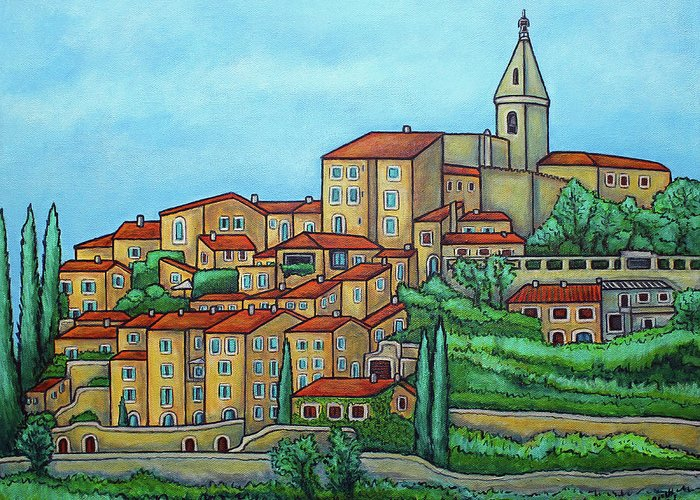 Provence Greeting Card featuring the painting Colours of Crillon-le-Brave, Provence by Lisa Lorenz