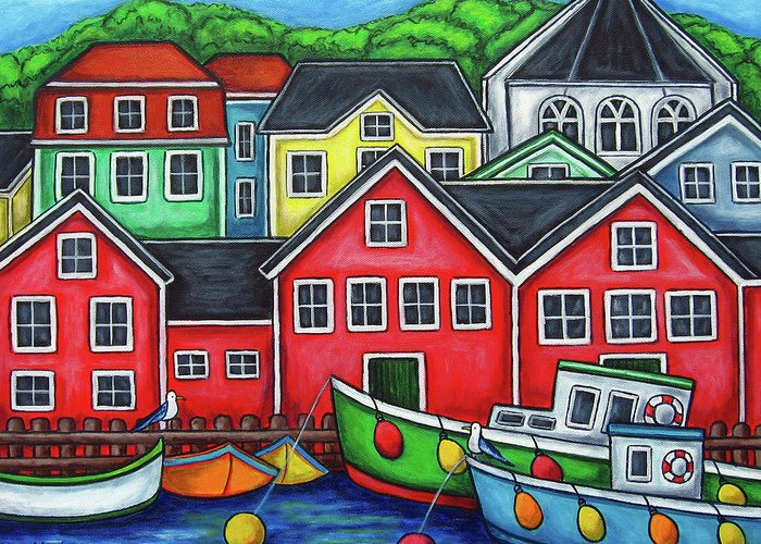 Nova Scotia Greeting Card featuring the painting Colours of Lunenburg by Lisa Lorenz