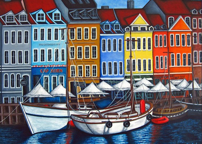 Nyhavn Greeting Card featuring the painting Colours Of Nyhavn by Lisa Lorenz