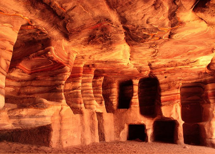 Petra Greeting Card featuring the photograph Colours Of Petra by Paul Cowan