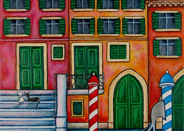Venice Greeting Card featuring the painting Colours Of Venice by Lisa Lorenz