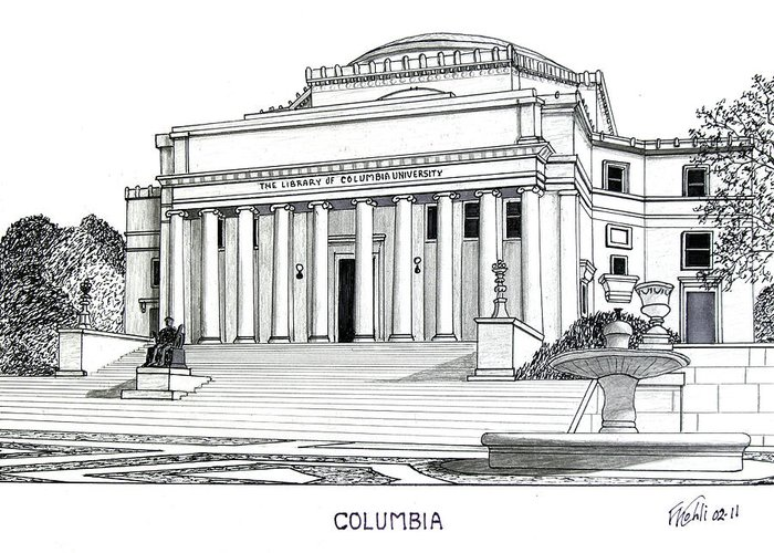 Columbia University Pen And Ink Drawings Greeting Card featuring the drawing Columbia by Frederic Kohli
