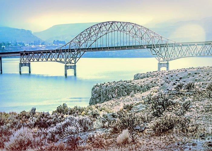 Washington Greeting Card featuring the photograph Columbia River Vantage Bridge by Jean OKeeffe Macro Abundance Art