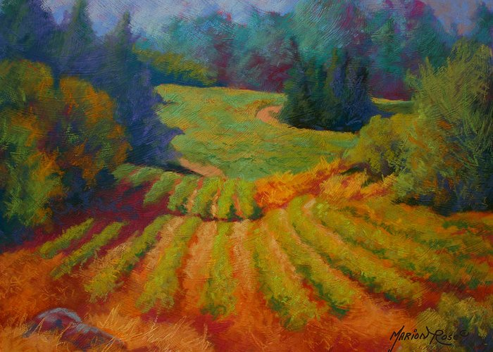 Pastel Greeting Card featuring the painting Columbia Valley Vineyard by Marion Rose