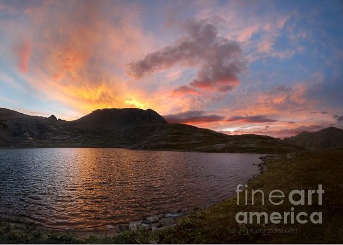 Colorado Greeting Card featuring the photograph Columbine Lake Sunset - Weminuche Wilderness - Colorado by Bruce Lemons