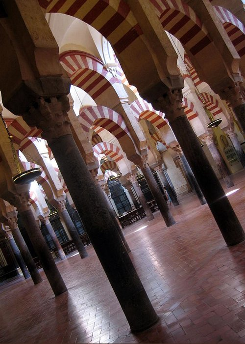 Spain Greeting Card featuring the photograph Columnas En La Mezquita by Lindsey Orlando