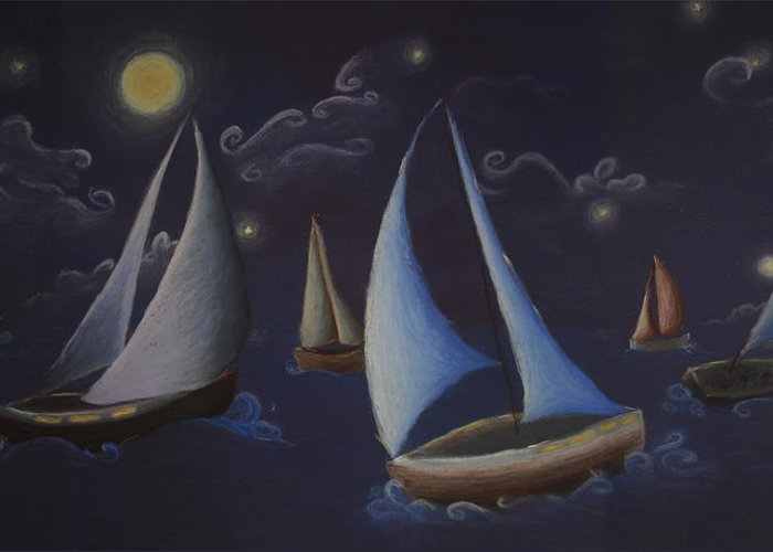 Sailing Greeting Card featuring the pastel Come Sail Away by Amanda Clark