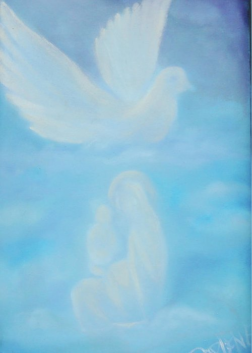 Dove Greeting Card featuring the painting Come Unto Me by Darlene Green
