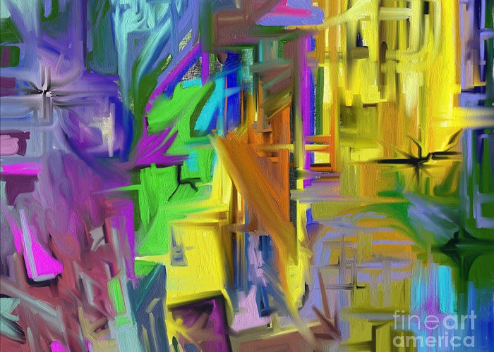 Abstract Greeting Card featuring the painting Comfort by Jo Baby
