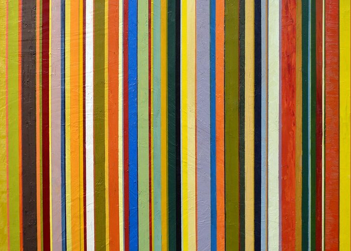 Textured Greeting Card featuring the painting Comfortable Stripes by Michelle Calkins