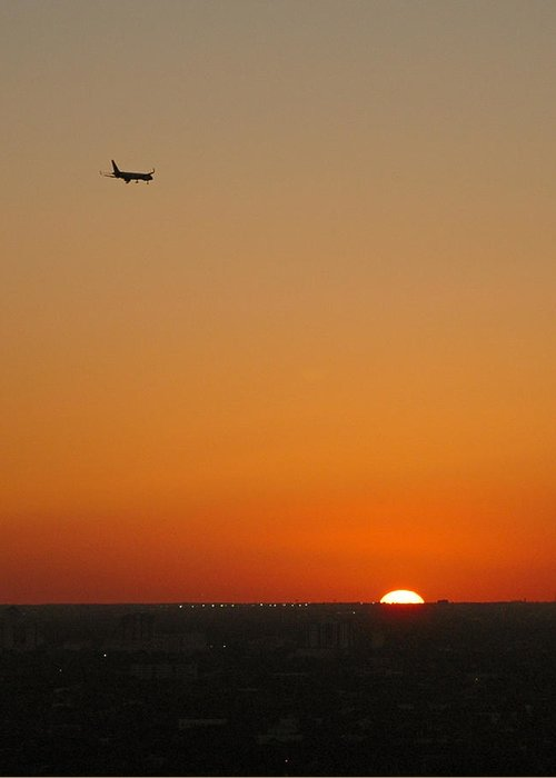 Plane Greeting Card featuring the photograph Comin' Home - Miami by Frank Mari