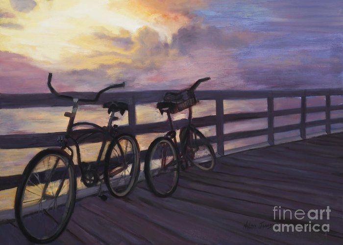Bicycles On Colorful Sunset Dock Greeting Card featuring the painting Coming And Going By Marilyn Nolan- Johnson by Marilyn Nolan-Johnson