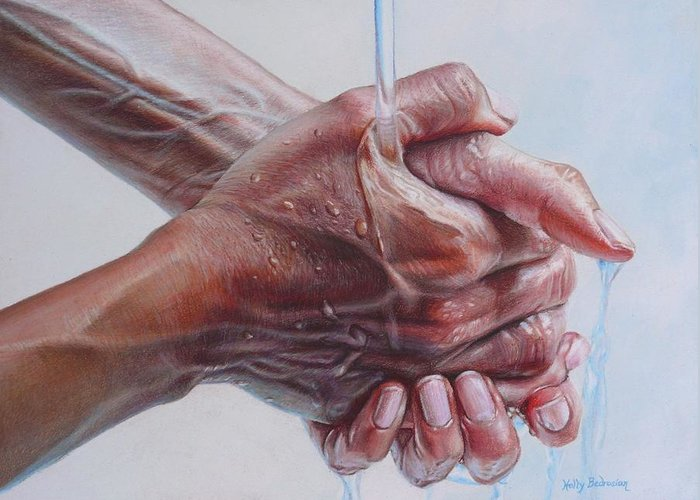 Hands Greeting Card featuring the drawing Coming Clean by Holly Bedrosian