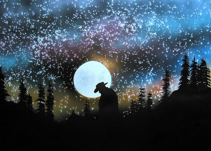 Silouette Cowboy Horse Landscape Moon Stars Night Greeting Card featuring the painting Coming Home by Ed Moore