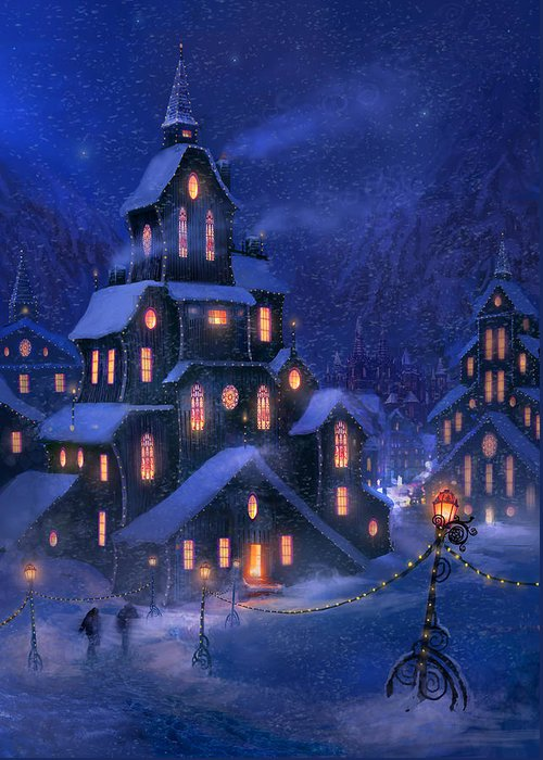Christmas Greeting Card featuring the painting Coming Home by Philip Straub