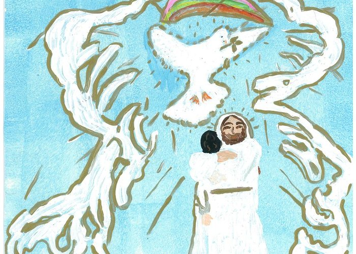 Jesus Greeting Card featuring the painting Coming Home by Rosemary Mazzulla