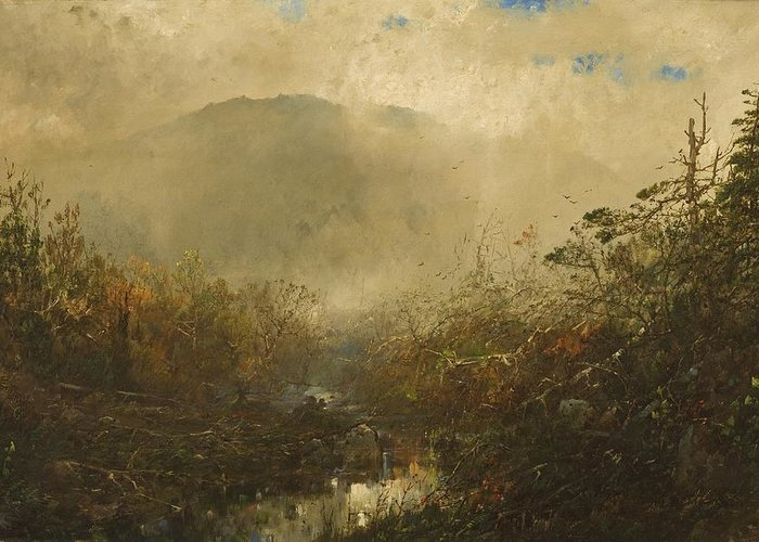 Wild Greeting Card featuring the painting Coming Storm In The Adirondacks by William Sonntag