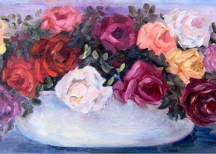 Still Life Greeting Card featuring the painting Coming up Roses by Lorna Skeie
