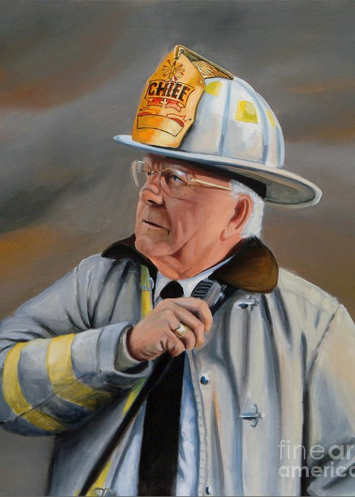 Fire Chief Greeting Card featuring the painting Command by Paul Walsh