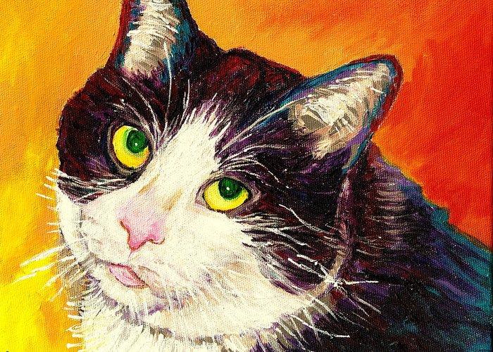 Cats Greeting Card featuring the painting Commission Your Pets Portrait By Artist Carole Spandau Bfa Ecole Des Beaux Arts by Carole Spandau