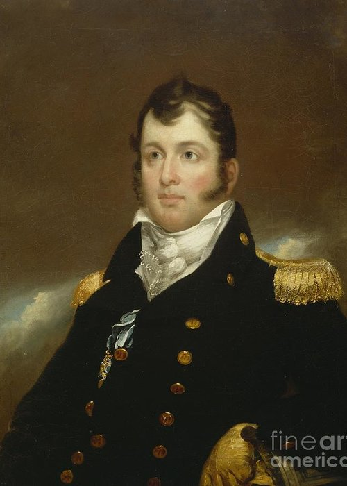 Commodore Greeting Card featuring the painting Commodore Oliver Hazard Perry by John Wesley Jarvis