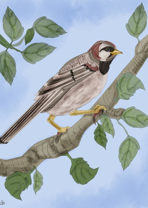 Sparrow Greeting Card featuring the painting Common House Sparrow by Anne Norskog
