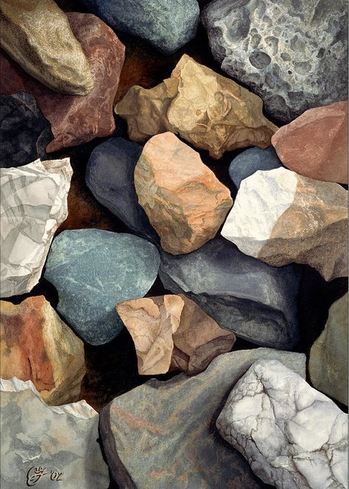 Stones Greeting Card featuring the painting Common Stone by Craig Gallaway